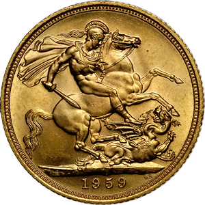 Sovereign Goldmünze von 1959 Revers