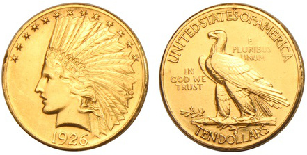 Ansicht Indian Head Goldmünze von 1926